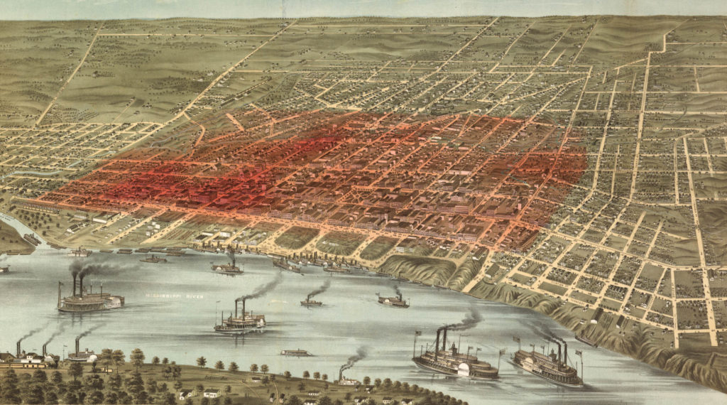 Kernel Density Analysis of yellow fever deaths in Memphis, Tennessee from August 28 to September 17, 1878 (200m radius) overlaid on an 1870 bird's-eye perspective of the city (available from the Library of Congress).